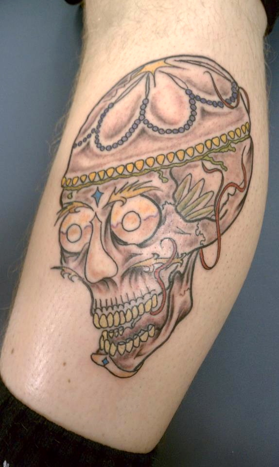 this is a tebetan skull tattoo done at soul imagez tattoo shop in san jose