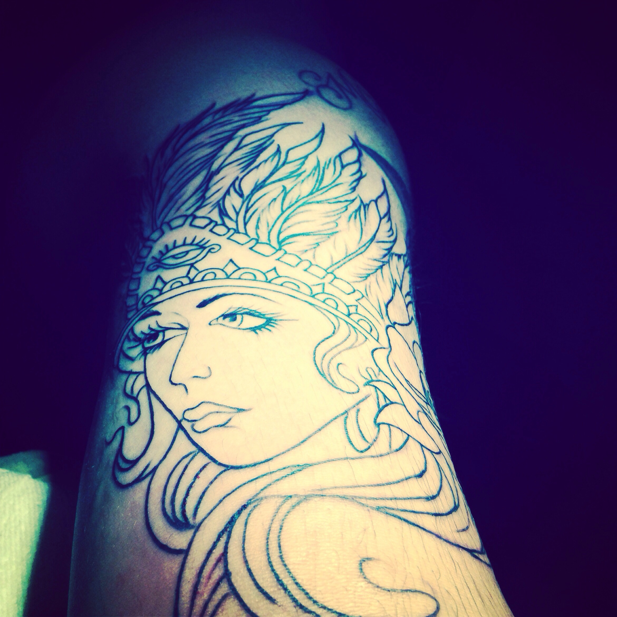 Woman face tattoo with aztec headdress done in san jose tattoo shop