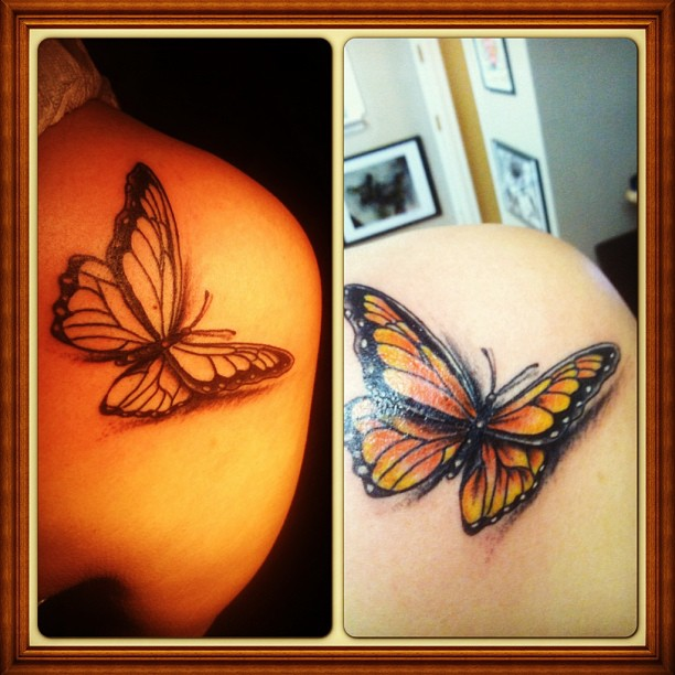 realsitic butterfly tattoo done at soul imagez tattoo shop in san jose