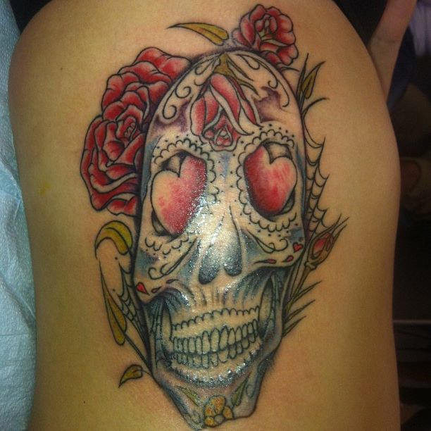 neotraditional day of the dead skull with rose done at soul imagez tattoo in san jose ca