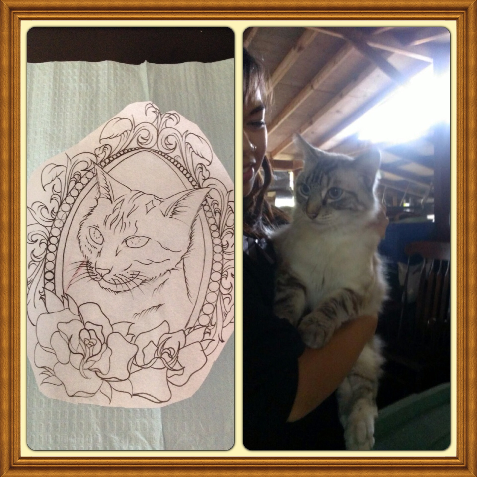 Cat with picture vintage picture frame tattoo | Best Tattoo Shop In ...